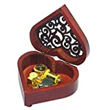 Pursuestar Heart Shaped Vintage Carved Wood Mechanism Windup Music Box Gift for Christmas Birthday Wedding Valentine's Day - Game of Thrones