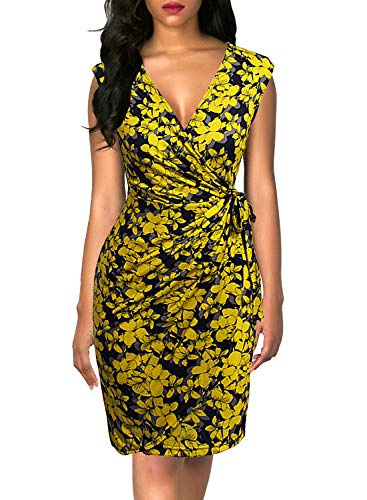 Berydress Women's Classic V-Neck Cap Sleeve Sheath Cocktail Party Work Knee-Length Floral Faux Wrap Dress (M, 6028-Yellow Floral)