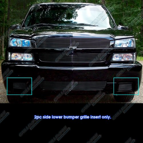 (APS for 2003-2006 Chevy Silverado 1500 SS Black Bumper Billet Grille Grill Insert #N19-H50358C)