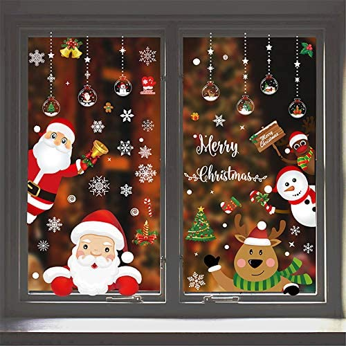 8-Sheet 167Pcs Christmas Window Clings Window Stickers for Christmas Decorations Window D/écor Ornaments Xmas Party Supplies Thanksgiving Party D/écor Home Deer Santa Claus and Snowflakes