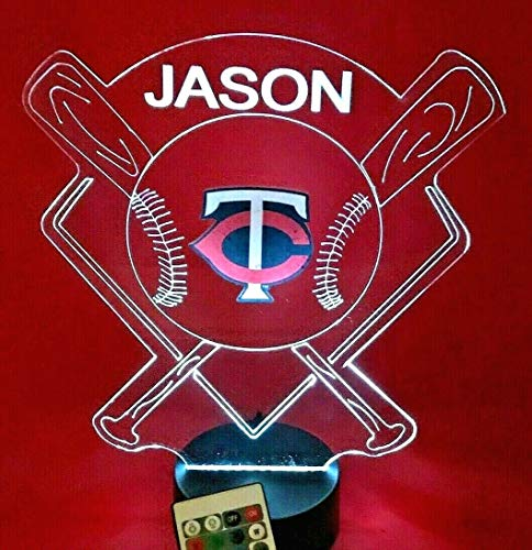 Minnesota Beautiful Handmade Acrylic Personalized Twins MLB Baseball Light Up Light Lamp LED Lamp, Our Newest Feature - It's WOW, With Remote, 16 Color Options, Dimmer, Free Engraved, Great ()