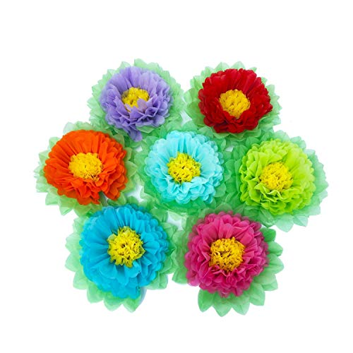 SD SPARKLING DREAM Paper Flowers Paper Pom Poms for Wedding Decor - Birthday Celebration - Wedding Party and Outdoor Decoration - Set of 7 pcs (Rainbow) -