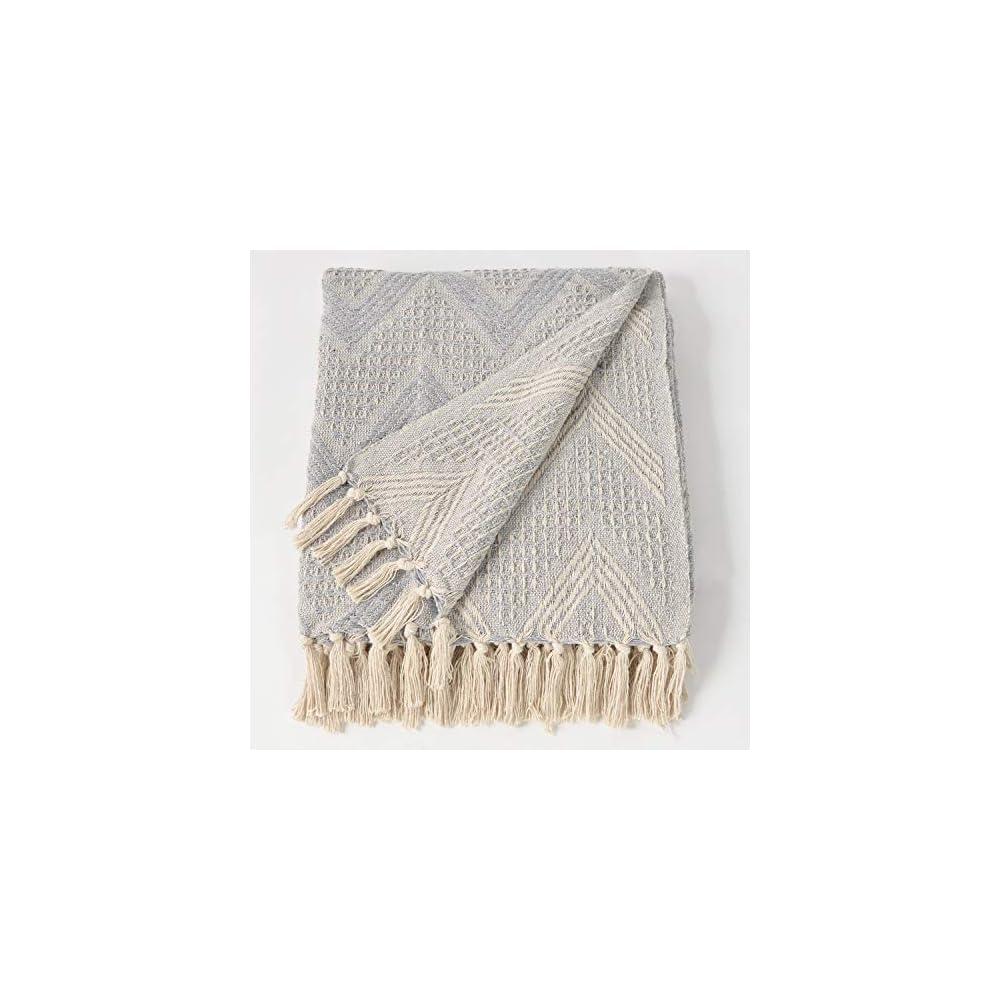 The Wish Tree Co. 50x60 Grey Zigzag Cotton Farmhouse Throw Blanket with Fringe Tassels Soft Warm Lightweight Indoor…