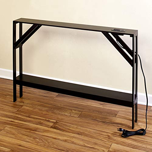 Skinny Sofa Table with Outlet - Modern Accent Table with Black Finish