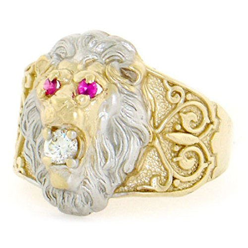 Jewelry Liquidation 10k Two-Tone Gold Lion Head Red & White CZ Mens Ring