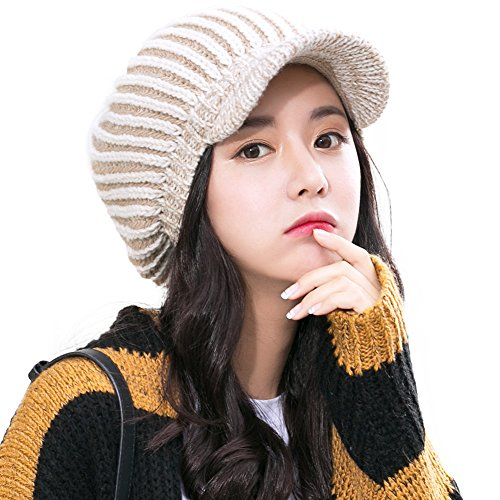 Womens Acrylic Knitted Hat with Visor Jeep Beanie Cold Weather Winter Newsboy Cap (Acrylic Jeep Cap)