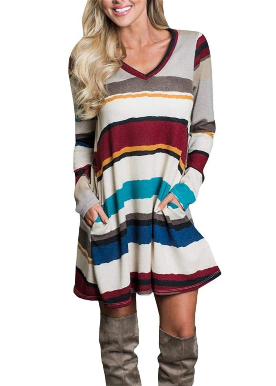 Klousilover Womens Color Block T Shirt Dress Long Sleeve V Neck Swing Tunic Dress with Pockets
