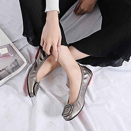 T-juli Instappers Schoenen Voor Dames - Loempia Slip Antislip Platte Vierkante Teen Casual Cent Brons