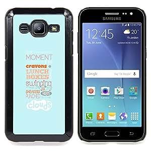 "Qstar Arte & diseño plástico duro Fundas Cover Cubre Hard Case Cover para Samsung Galaxy J2 / J200 (Tipografía Almuerzo"")"
