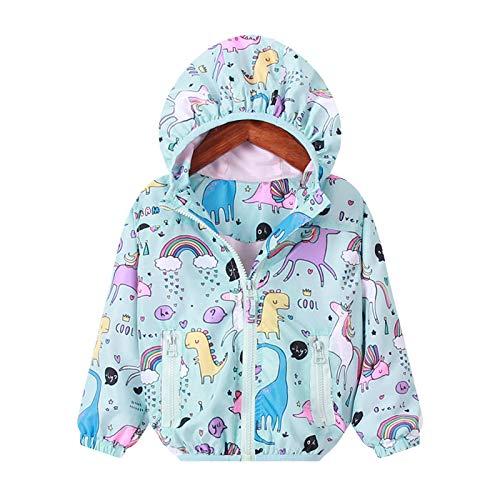Kids Girls Cartoon/Lightweight Unicorn Print Zip Jacket Hooded Windbreaker Coat Outerwear Raincoat