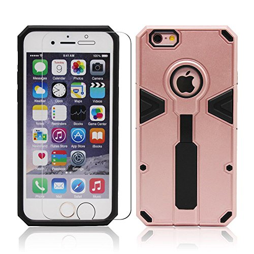 iPhone 6 Plus 6S Plus [5.5 inch] Case with Ring Holder / Stand, Shockproof Shell with Tempered Glass Screen Protector by BOONIX(Rose - Tempered Polycarbonate Glass Vs