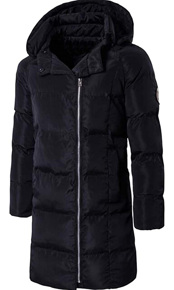 XiaoTianXinMen XTX Mens Mid Length Thicken Hoodie Warm Winter Letter Print Quilted Jacket Coat Outerwear