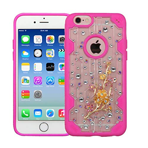 Eforcity Clear Crystal Phone Case - Insten 3D Wintersweet Crystal Hard Snap-in Case Cover with Diamond Compatible with Apple iPhone 6/6s, Clear/Hot Pink