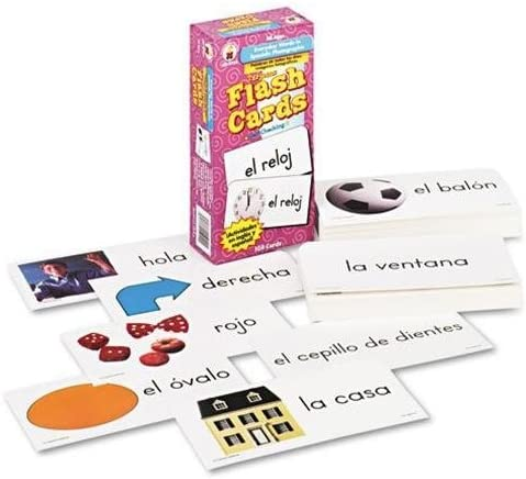 B002FTMXM2 CARSON-DELLOSA Everyday Words In Spanish Flash Cards, Photographic, 3 x6, 104 Cards (Case of 12) 51SpvemgnWL.