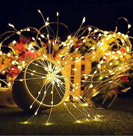 ILOVEDIY Feu dartifice 180 LED Guirlande Lumineuse a Pile avec T/él/écommande Fil de Cuivre Decoration Mariage No/ël Multicolore