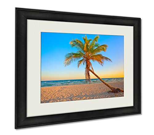 Ashley Framed Prints A Coconut Tree On A Deserted Tropical Beach At Sunset, Wall Art Home Decoration, Color, 34x40 (frame size), AG5946544 by Ashley Framed Prints