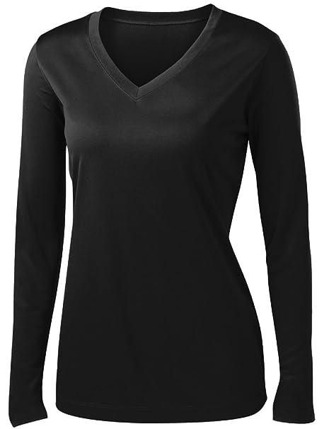 c33faffbf24 Ladies Long Sleeve Moisture Wicking Athletic Shirts Sizes XS-4XL BLACK-XS