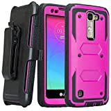 LG K8, LG Phoenix 2, LG Escape 3 [Shock Proof Series] Heavy Duty Belt Clip Holster, Full Body Coverage with Built In Screen Protector/Rugged Protection For LG K8, LG Phoenix 2, LG Escape 3, Purple