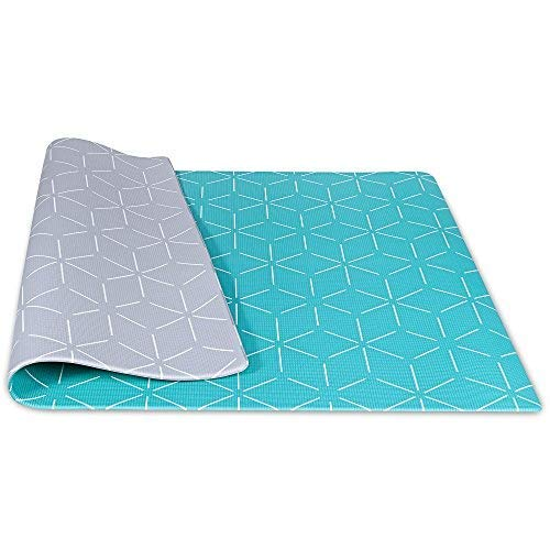 Baby Play Mat For Infants | One-Piece Reversible Foam Floor Mat | Large | Eco-Friendly | Extra Soft | Thick | Non-Toxic | 6.5 x 4.5 Foot | Toddlers | Kids (Gray / Aqua) (Large Buy Rugs)