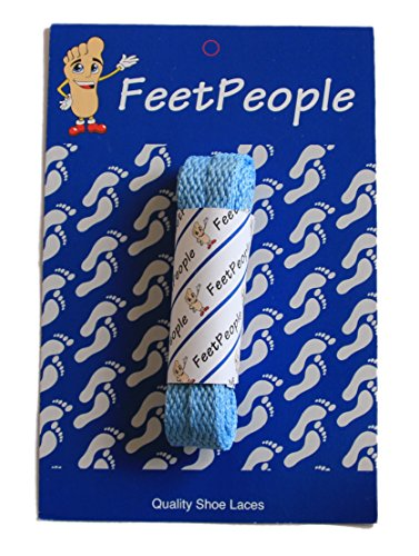FeetPeople Flat Laces, 1 Pair, Carolina Blue, 45 inches x 1 Pair (Carolina Lace)