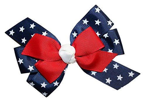WD2U Girls Red White Blue Star Spangled Patriotic Hair Bow on Alligator Clip