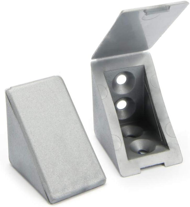 40 x Conector de muebles/conector angular con tapa   Sossai® BT1, 4 agujeros   Color: plata   Material: plástico