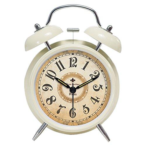 Foyou Retro Metal Analog Quartz Silent Twin Bell Alarm Clock with Nightlight and Loud Alarm ( Arabic Numerals, Beige )