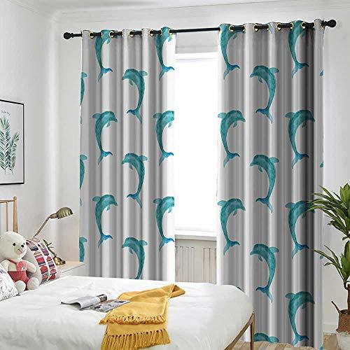 "Price comparison product image one1love Sea Animals Decor Grommet Curtain Aqua Watercolor Art Dolphin Figures Ocean Playful Marine Underwater Theme Room Darkening,  Noise Reducing 84"" W x 84"" L Aqua White"
