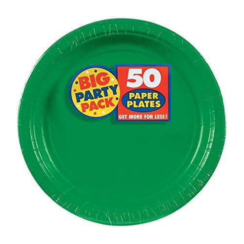Amscan Festive Green Big Party Pack Paper Plates, 7