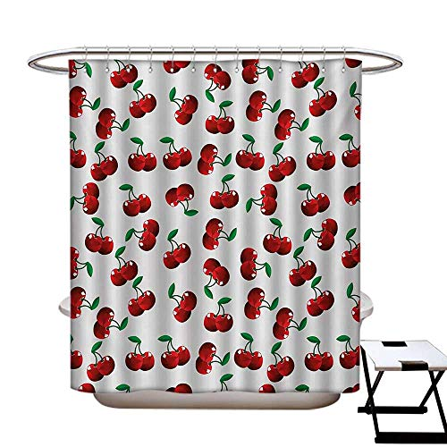 """Fruits Mildew Resistant Shower Curtain Liner Vibrant Cherries Vitamin Agriculture Exotic Summer Garden Pattern No Chemical Odor,Rust Proof Grommets Holes Ruby Hunter Green Coconut72×84"""""""