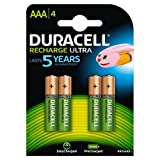 Duracell Rechargeable Rechargeable Ultra AAA HR03 850 mAh AAA Batteries, 4 Batteries