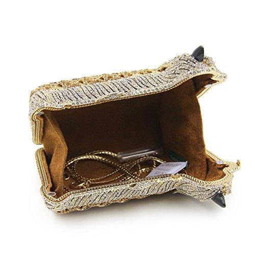 Milisente Women Evening Bag Puppy Crystal Clutch Purse Party Evening Handbag (Gold) by Milisente (Image #6)