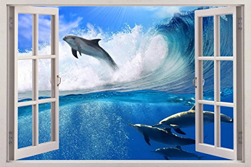 Surfing Dolphins 3D Window View Decal WALL STICKER Art Mural Beach Ocean Animals C087, Giant (Surfing Dolphins)