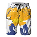 Lin's Africa Safari Tour Mens Beach Shorts Printing Quick Dry Summer Boardshort Shorts Swim Trunks