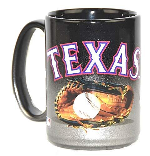 Texas Rangers Jumbo 15oz Black & Chrome Glove Mug ()