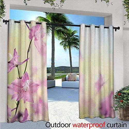 (Floral Outdoor- Free Standing Outdoor Privacy Curtain W84 x L108 Larkspur Petals with Bokeh Backdrop Summer Season Botany Bouquet Image for Front Porch Covered Patio Gazebo Dock Beach Home Baby)