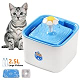 JEMPET Automatic Pet Fountain Cat Water Dispenser Healthy Hygienic Drinking Fountain Pet Water Bowl for Cats, Dogs and Small Animals, 2.5L with Replacement Charcoal Filter