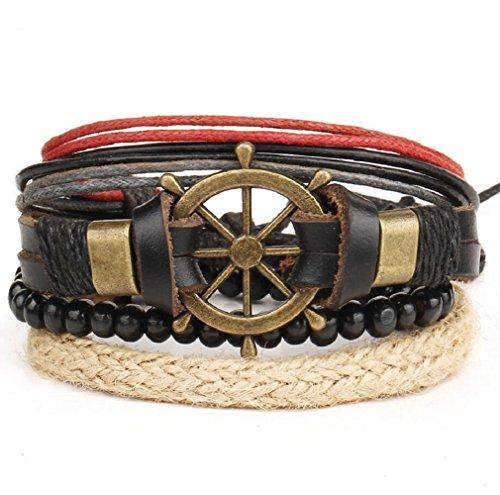 Fariishta Jewelry Punk Retro Boat Rudder Bead Braided Multi Strand Leather (Foiled Panther)