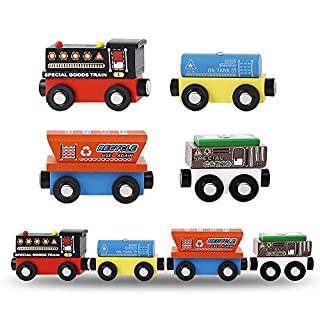 MinYn Wooden Train Cars with Magnetic Engine Deluxe Train Toy Set Collection for Kids Boys and Girls - 4 Pieces(Special Goods Train Series)