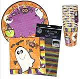 Halloween Spooky Fun Party Bundle (18-ct Plates, 18-ct Napkins, 14-ct Cups, 1 Table Cover) by DTSC