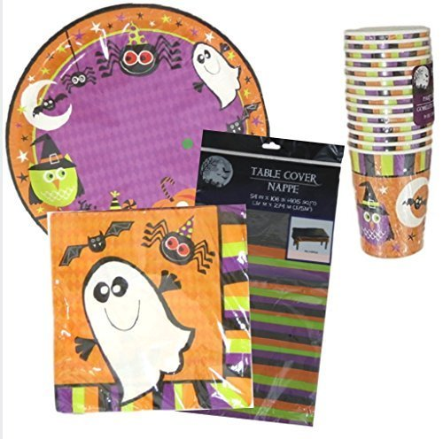 Halloween Spooky Fun Party Bundle (18-ct Plates, 18-ct Napkins, 14-ct Cups, 1 Table Cover) by DTSC (Halloween Party Designs)