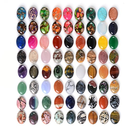 Wholesale Lot 24pcs Multi-color 25mm Gemstone Oval Cab Cabochon For Jewelry (Oval Cabochon)