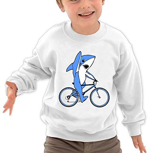 Puppylol Funny Shark On Bike Kids Classic Crew-neck Pullover Sweatshirt White 4 Toddler