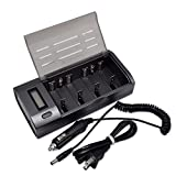 PALO 906 Black LCD Display Smart Battery Charger for AA AAA C D 9V Ni-MH Rechargeable Batteries - Car Charger As Gift