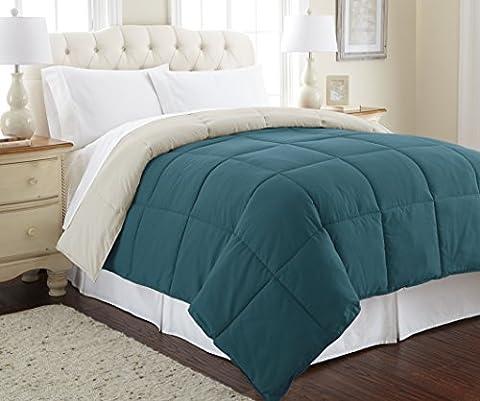 Amrapur Overseas | Goose Down Alternative Microfiber Quilted Reversible Comforter / Duvet Insert - Ultra Soft Hypoallergenic Bedding - Medium Warmth for All Seasons - [King, Coral - Blue Reversible Comforter