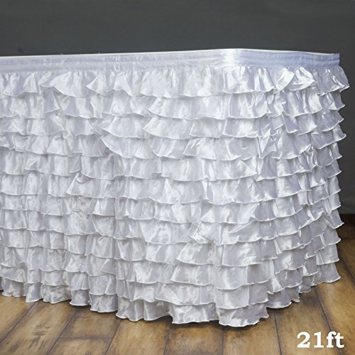 Efavormart 21ft Flamenca Satin Ruffle Table Skirt for Kitchen Dining Catering Wedding Birthday Party Decorations Events - White - 21' Skirt Polyester Table
