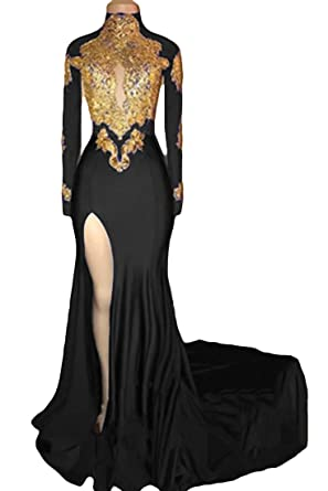 4aeb83d43d234 VikDressy Women s Mermaid High Neck Prom Dress 2018 with Gold Appliques  Long Sleeves Evening Gowns