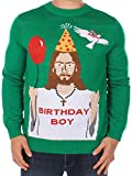 Tipsy Elves Men's Ugly Christmas Sweater - Happy Birthday Jesus Sweater Green Size XL