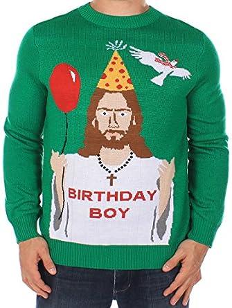 Amazon.com: Men's Ugly Christmas Sweater - Happy Birthday Jesus ...