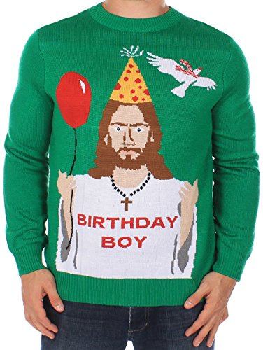 Tipsy Elves Men's Ugly Christmas Sweater - Happy Birthday Jesus Sweater Green Size L ()